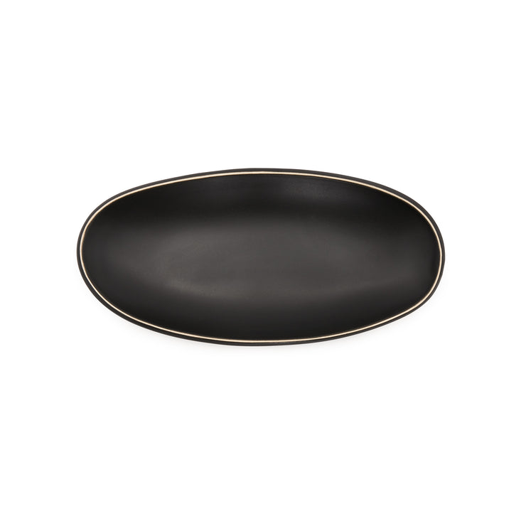 Oval Sides Bowl- Matte Black / White Edge