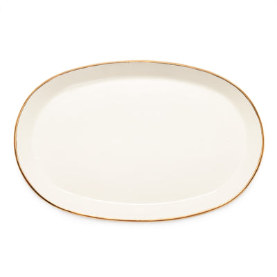 Gift Registry Oval Serving Platter - Gold Rim