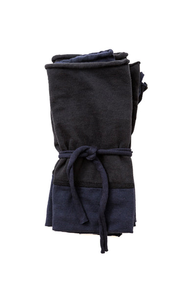 Organic Cotton Jersey Napkins - Colorblock Navy/Black