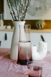 Hand-Blown Rose Glass Carafe