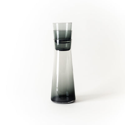 Hand-Blown Charcoal Glass Carafe - Short