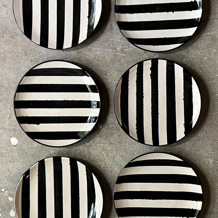 Ltd. Edition Lunch Plate: Pair of Black and White Stripes