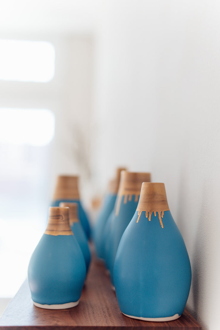Gramercy Bottle Vase - Turquoise and Gold