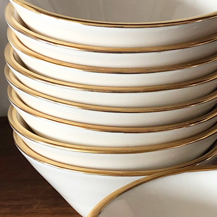 Lexington Snack Bowl- White and Gold