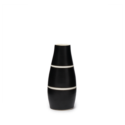 Gramercy Milk Vase - Ltd. Edition Matte Black/White Stripes