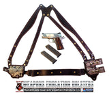 "TOM'S ""EXOTIC PYTHON HORIZONTAL - BIKINI - SHOULDER HOLSTER"" - CUSTOM HAND-MADE DOUBLE THICK REINFORCED LEATHER SEMI-AUTO SHOULDER RIG. HORIZONTAL HOLSTER, MUZZLE EXPOSED - REINFORCED W/ 1.75"" REAR BACK STRAP. CUSTOM HARNESS INCLUDED. BELT NOT NEEDED."
