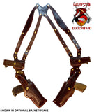 "TOM'S ""DUAL GUN RIG WITH MAGS"" - CUSTOM HAND-MADE DOUBLE THICK REINFORCED LEATHER - 2 GUN SHOULDER HOLSTER RIG. CALL 954-804-4381 FIRST. CLICK HERE."