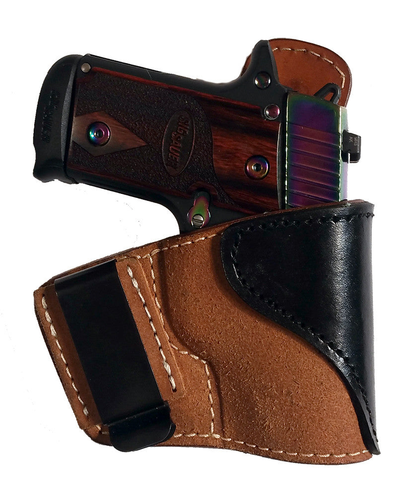 "TOM'S ""TWO TONE INSIDE THE POCKET HOLSTER"" DOUBLE THICK STEEL MESH REINFORCED LEATHER - INCLUDES QUALITY METAL CLIP - ATTACHES TO BELT FOR IWB OR KEEP IT IN YOUR POCKET"