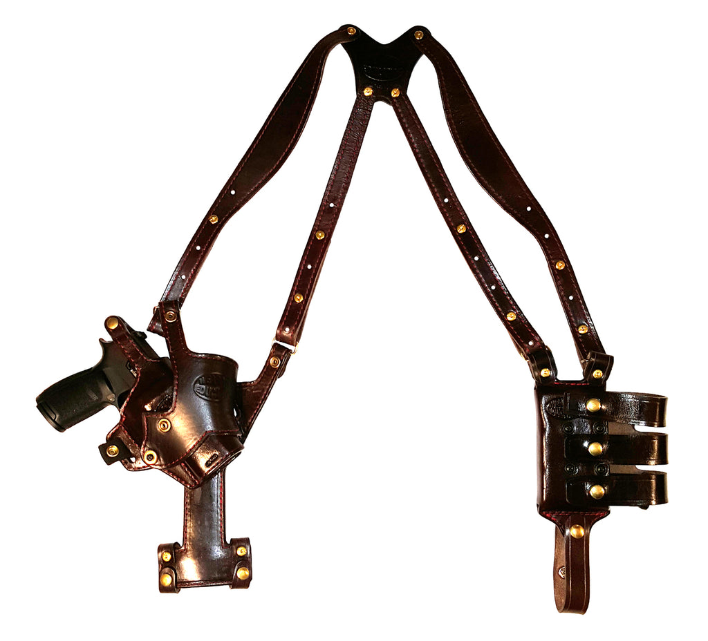 "TOM'S ""VERTICAL TILT"" - PISTOL PIVOTS! CUSTOM HAND-MADE DOUBLE THICK LEATHER SEMI-AUTO SHOULDER HOLSTER RIG. VERTICAL HOLSTER, MUZZLE COVERED WITH LEATHER. BACK OF HOLSTER ATTACHES TO GUN BELT. INCLUDES 2 VERTICAL MAG POUCHES ON OPPOSITE SIDE. CLICK HERE."