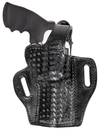 "TOM'S ""REVOLVER BASKETWEAVE HOLSTER"" DOUBLE THICK STEEL MESH REINFORCED LEATHER"