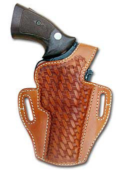 "TOM'S ""THUMB BREAK BASKETWEAVE HOLSTER"" DOUBLE THICK STEEL MESH REINFORCED LEATHER"