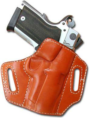 "TOM'S ""CANTED FORWARD BELT SLIDE HOLSTER"" DOUBLE THICK STEEL MESH REINFORCED LEATHER"