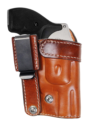 "TOM'S ""INSIDE THE POCKET HOLSTER"" GREAT FOR SNUB NOSED REVOLVERS OR SEMI-AUTO PISTOLS. DOUBLE THICK STEEL MESH REINFORCED LEATHER WITH STEEL CLIP"