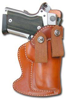 "TOM'S ""INSIDE WAIST BAND SEMI-AUTO MASTERPIECE HOLSTER"" DOUBLE THICK STEEL MESH REINFORCED LEATHER. NO THUMB STRAP AND DUAL BELT LOOPS"