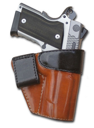 "TOM'S ""COMPACT TWO TONE INSIDE THE WAIST BAND - IWB HOLSTER"" WITH BELT LOOP. COMPACT GUN MASTERPIECE. DOUBLE THICK STEEL MESH REINFORCED LEATHER"