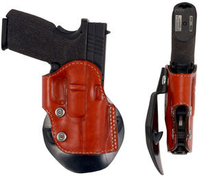 "TOM'S ""INSTANT CARRY PADDLE HOLSTER"" RETENTION SCREWS WITH DOUBLE THICK STEEL MESH REINFORCED LEATHER"