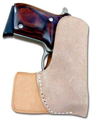 "TOM'S ""SUEDE POCKET HOLSTER, TWO TONE"" - DOUBLE THICK STEEL MESH REINFORCED LEATHER COMBO GUN HOLSTER"