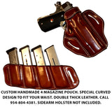 "TOM'S ""SIDEARM QUAD MAG CARRIER"" SEMI-AUTO ANGLED SLIDE THROUGH BELT DOUBLE THICK REINFORCED LEATHER MAG POUCHES"