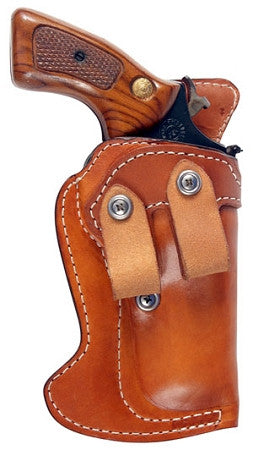 "TOM'S ""INSIDE WAIST BAND REVOLVER MASTERPIECE HOLSTER"" DOUBLE THICK STEEL MESH REINFORCED LEATHER. NO THUMB STRAP AND DUAL BELT LOOPS"