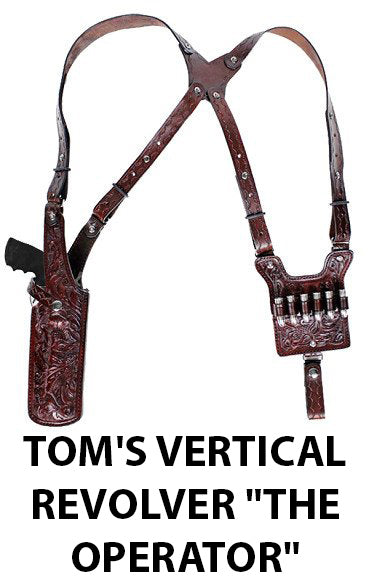 "TOM'S VERTICAL REVOLVER ""THE OPERATOR"" - CUSTOM HAND-MADE DOUBLE THICK REINFORCED LEATHER REVOLVER SHOULDER HOLSTER RIG - HOLSTER AND AMMO ATTACHES TO BELT. VERTICAL - SPEED LOADER POUCHES - OPTIONAL. CLICK HERE."