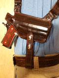 "TOM'S ""HORIZONTAL COVERT"" - CUSTOM HAND-MADE DOUBLE THICK REINFORCED LEATHER SEMI-AUTO HORIZONTAL SHOULDER HOLSTER RIG. ATTACHES TO GUN BELT. INCLUDES 2 VERTICAL MAGAZINE POUCHES. CLICK HERE."