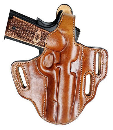 "TOM'S ""THREE SLOT BELT SLIDE HOLSTER"" DOUBLE THICK STEEL MESH REINFORCED LEATHER / ADJUST ANGLE AT ANYTIME"