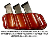 "TOM'S ""SIDEARM TRIPLE MAG CARRIER"" DOUBLE SEMI-AUTO ANGLED SLIDE THROUGH BELT DOUBLE THICK REINFORCED LEATHER MAG POUCHES"