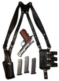 "TOM'S ""TRIPLE MAG AMMO WARRIOR"" - CUSTOM HAND-MADE, SHOWN IN BASKETWEAVE, DOUBLE THICK REINFORCED LEATHER SHOULDER RIG. BACK OF HOLSTER ATTACHES TO GUN BELT. INCLUDES 3 VERTICAL MAG POUCHES. CLICK HERE."