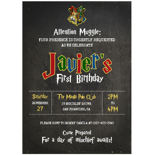 Harry Potter Themed Birthday Invitation