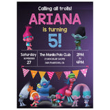 Trolls Themed Birthday Invitation