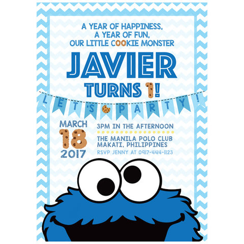 Cookie Monster Themed Birthday Invitation