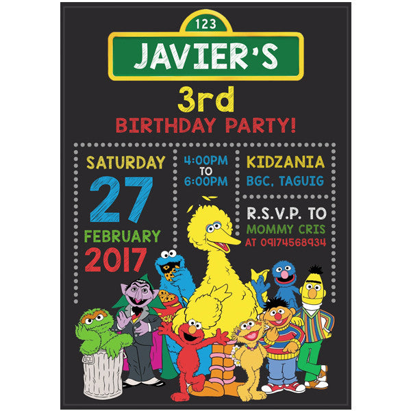 Sesame Street Themed Birthday Invitation