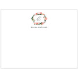 Monogram Floral Wreath Personalized Note Cards