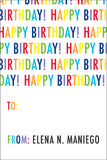 Colorful Words birthday gift tag