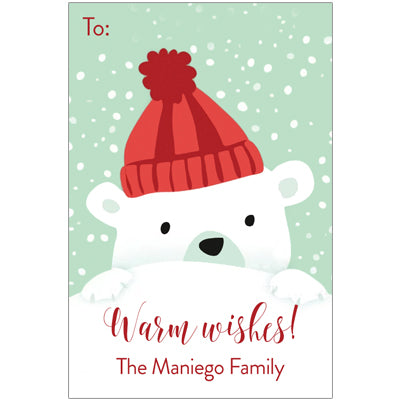 Cheeky Polar Bear Christmas Holiday Gift Tag