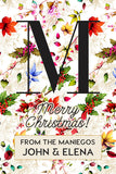 Vibrant Flowery Monogram Christmas Holiday Gift Tag
