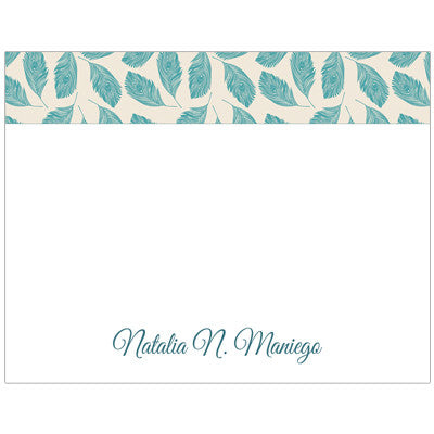 Green Leaf Personalized Boxed Note Cards