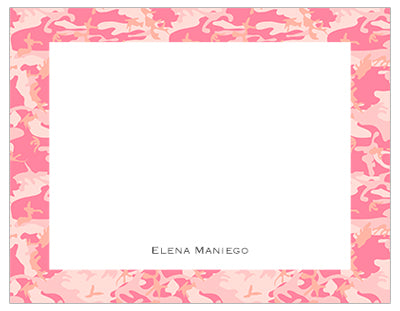 Pink Camouflage Border Personalized Note Cards Pepa Prints