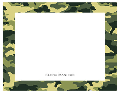 Green Camouflage Border Personalized Note Cards Pepa Prints