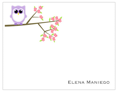 Owl on Branch Personalized Note Cards