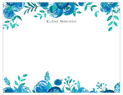 Shades of Blue Floral Personalized Note Cards