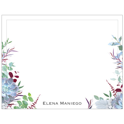 Succulent Hues Personalized Note Cards