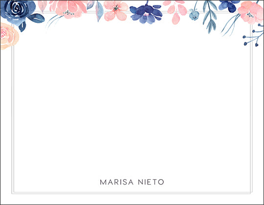 Pale Pinks and Blues Floral Themed Notecard