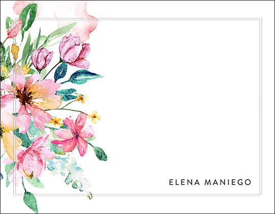 Blushing Watercolor Floral Garden Themed Notecard