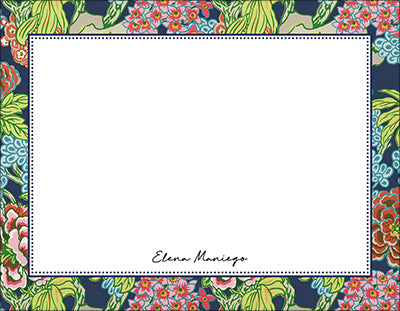 Exotic Peony Chinoiserie Blue Border Notecards