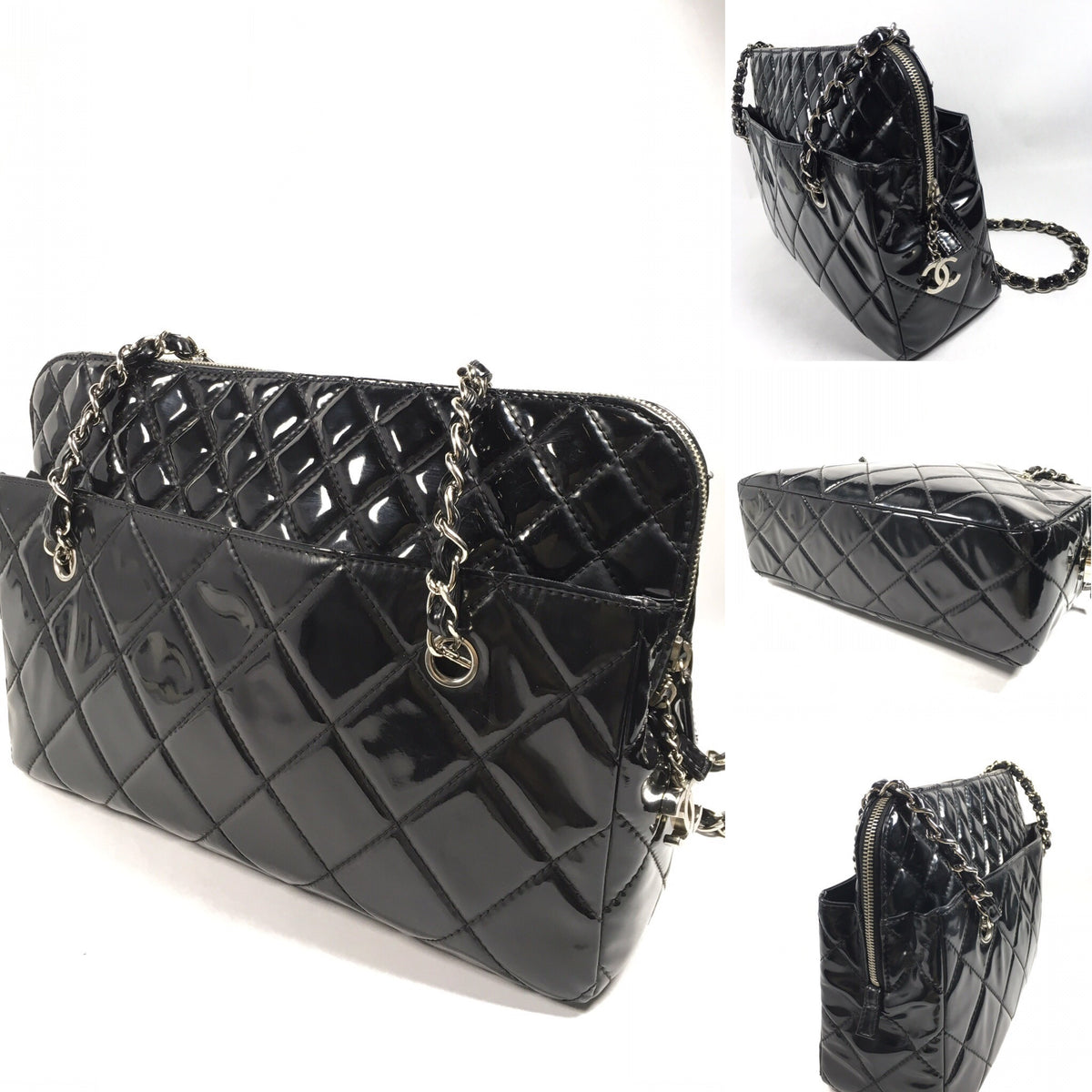 cb9830b64c1a15 Authentic Chanel Quilted Patent Leather Shoulder Bag – Spade Creations