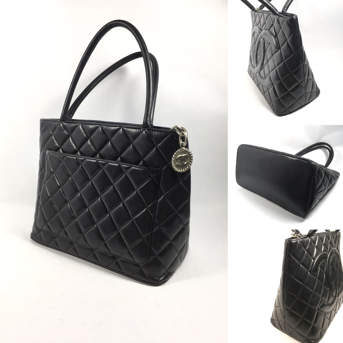 closet medallion bag handbags chanel tote black quilted s caviar leather yoogi