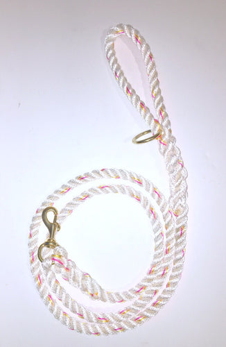 White with red and yellow tracers Leash