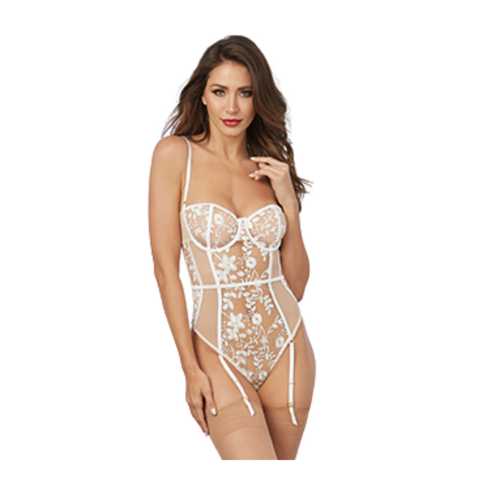 White and Nude mesh bodysuit with floral embroidery