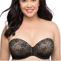Lace Black Plus Size Strapless Bra